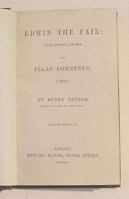 Image for Edwin the Fair, An Historical Drama and Isaac Comnenus, A Play (1842)